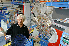 Les Cottrell in front of the BaBar detector at SLAC.
