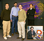 From left are PPPL scientists Weixing Wang, David Mikkelsen, Stephane Ethier, and William Tang with a plasma turbulence simulation in the background. Not pictured is W. W. Lee. Inset: PPPL scientist Greg Hammett.