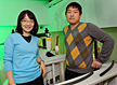 Mei Hong of the Ames Laboratory and Iowa State University, left, and Fanghao Hu of Iowa State used solid-state nuclear magnetic resonance spectroscopy to investigate the proton channel that connects a flu virus to a healthy cell.