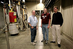BaBar collaborators William Lockman, Ray Cowan, and Brian Aagaard Petersen inside the SLAC accelerator.