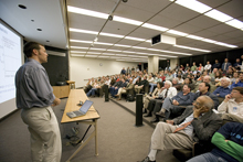 Christoph Paus of MIT presented the CDF discovery to the Fermilab scientific community on September 25. (Click image for larger view.)