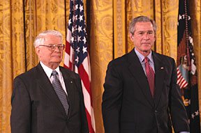 John Prausnitz with President Bush at the White House for the 2003 National Medal of Science Awards.