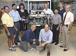 The team includes: (kneeling, from left), George Neil, Fred Dylla and (standing, from left) Kevin Jordan, Steve Benson, Michelle Shinn, George Biallas, Carlos Hernandez-Garcia, David Douglas, and Richard Walker. The FEL is principally funded by the Office of Naval Research.