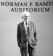 Norman Ramsey speaking at the 1981 dedication of Ramsey Auditorium at Fermilab's Wilson Hall.