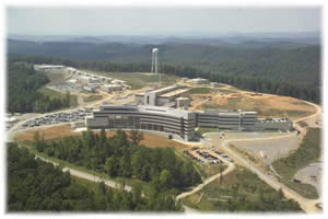 Aerial view of the SNS site, part of Oak Ridge National Laboratory in Tennessee. Click image for larger version.