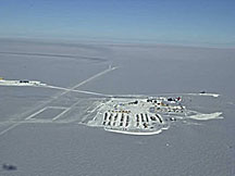 The South Pole might seem like an odd place to build neutrino telescopes, but the Antarctic ice is very clear and stable, and features relatively low background radiation. IceCube will be installed to the far left of the station shown here.