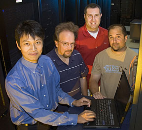 The TeraPaths team, from left, Dantong Yu, Dimitrios Katramatos, John DeStefano, and Frank Burstein. Not pictured: Jay Packard, Scot Bradley, and Shawn Mckee.