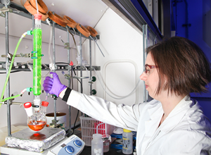 Synthetic polymer chemist Deanna Pickel investigates materials designed to increase the efficiency of solar cells. Photo: Jason Richards